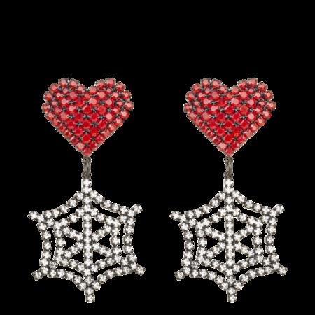 Ashley Williams Heart Cobweb Earrings - Mixed