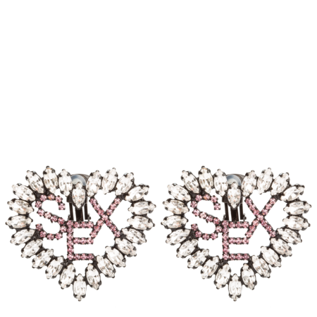 Ashley Williams Heart Sex Earrings - Clear