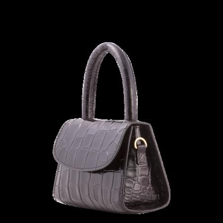 BY FAR Mini Croco Embossed Leather Bag - Black
