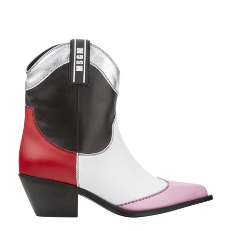 MSGM Tronchetto Donna Texan Ankle Boots - Black/Red/Pink