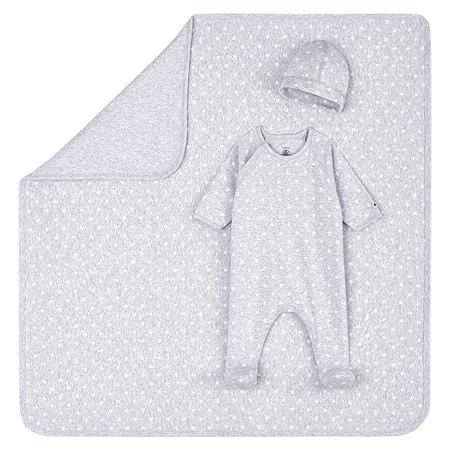 kids Petit Bateau Baby Tot Star Print Three Piece Set - Grey