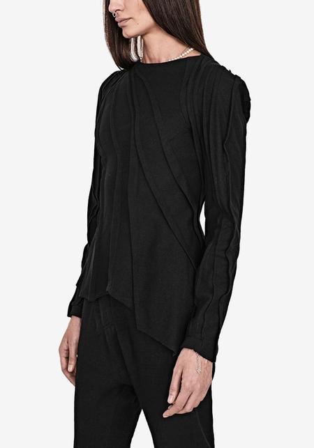 139Dec Plisse Stitch Asymmetric Long Sleeve Top