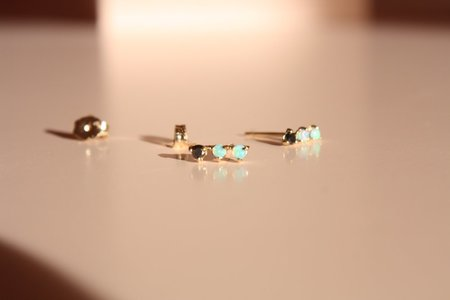 Wwake Black Diamond & Opal Three-Step Studs