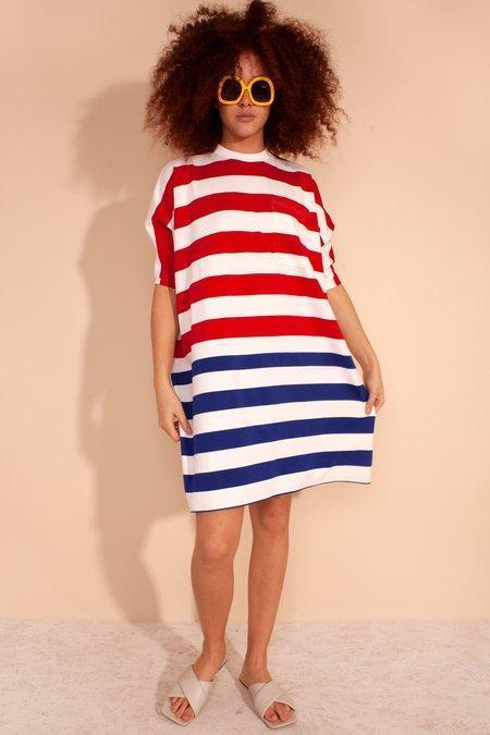L.F.Markey Roman Dress - Red/Blue Stripe