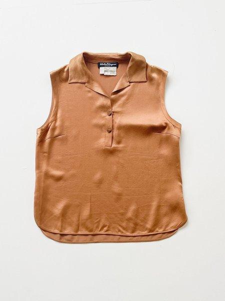 Vintage Silk Sleeveless Top - bronze