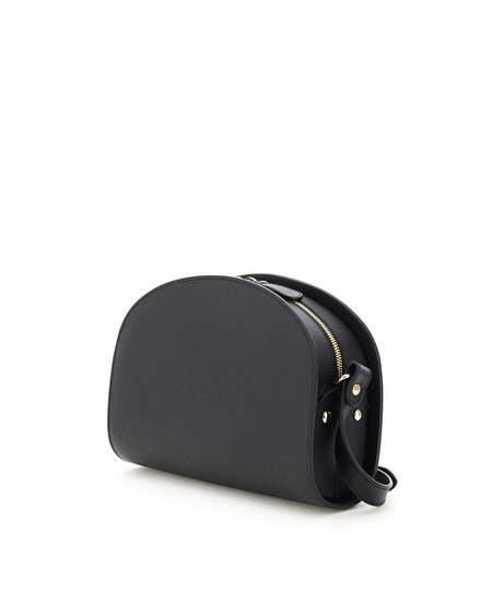 A.P.C. Demi Lune Saffiano Leather Bag - black