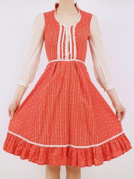 Vintage  little gunne sax-esque dress - red