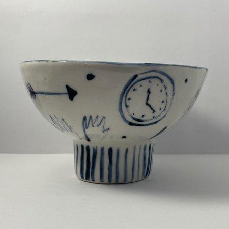 DA Ceramics Light Blue Stencil Bowl - WHITE/BLUE