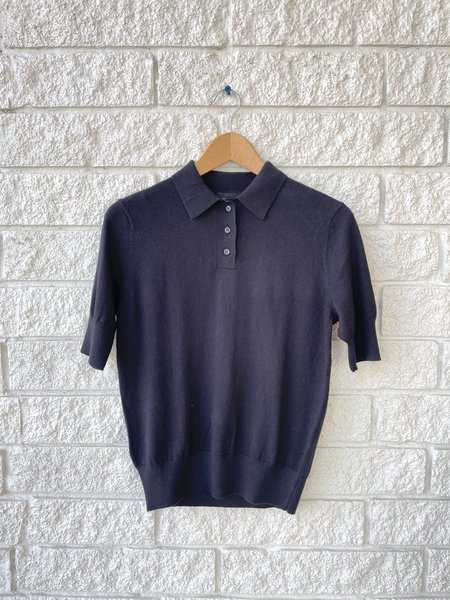 Lee Mathews Cotton Cashmere Polo top - black