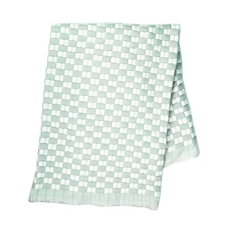Archive New York Quilted Suzani Throw Blanket - Light Sage/Grey/White