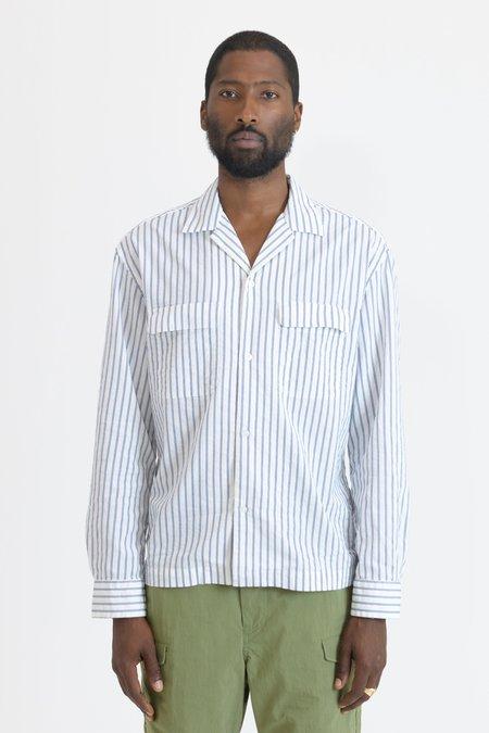 nonnative Bowler Sucker Stripe L/S Shirt - White Navy