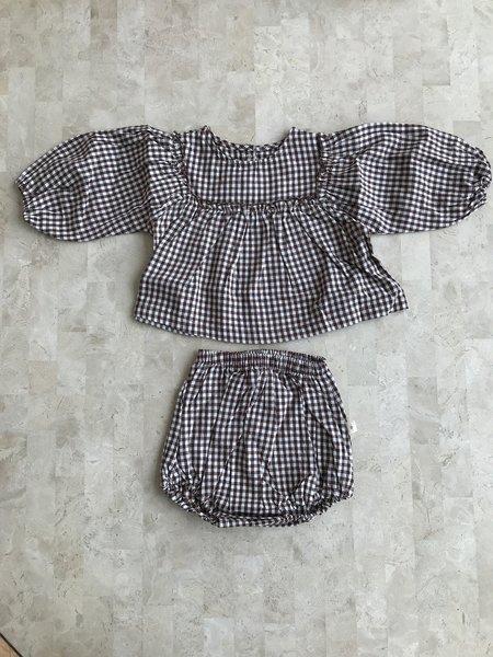 Kids Ri-Ri-Ku GINGHAM BABY SET - black/white