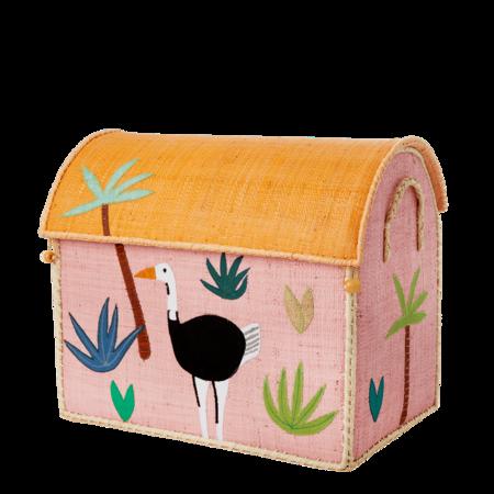 Kids Rice Medium Toy Basket - Jungle Pink Design