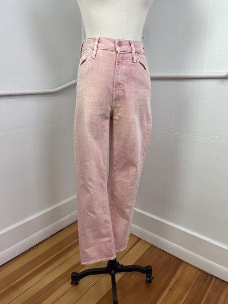 """[pre-loved] Mother """"Des High Waisted Rider Flood"""" Denim Jeans - Pink"""