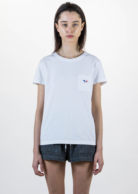 Maison Kitsune White T-Shirt Tricolor Patch