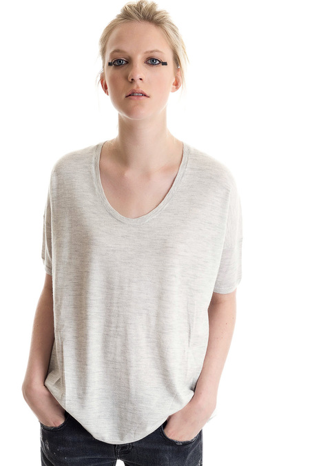 Paychi Guh Cashmere Boxy Tee Dove Grey