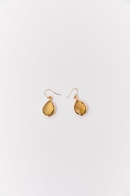 Pre-loved Apatite Stone Teardrop Earrings - gold