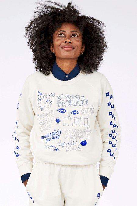 Clare V. Icon Sweatshirt - Cream/Navy