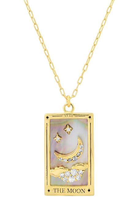 tai The Moon Tarot Card Pendant necklaces