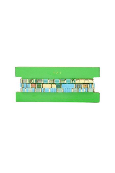 tai Miyuki Set of 3 in Beaded Bracelets - Turquoise