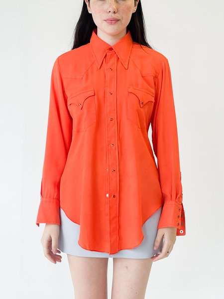 Vintage Mandarin Pearl Snap Blouse - red
