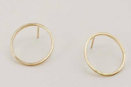 Devi Arts Black Moon Earrings - Gold