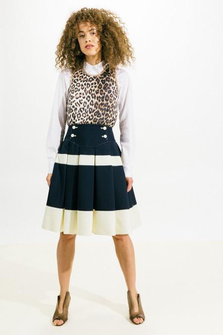 Shiro Sakai Broad Stripe Pleat Skirt