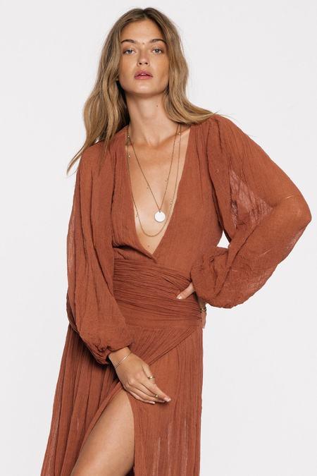 Jen's Pirate Booty Lapis Maxi Dress- Gauze Rust