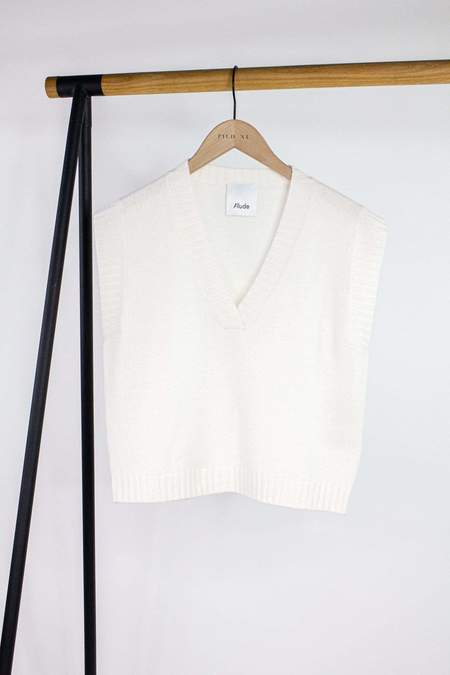 Allude V-Neck Sleeveless Sweater - Fleur de Sel