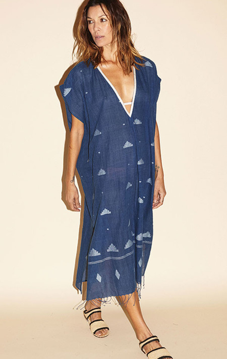 Two New York Indigo deep v caftan