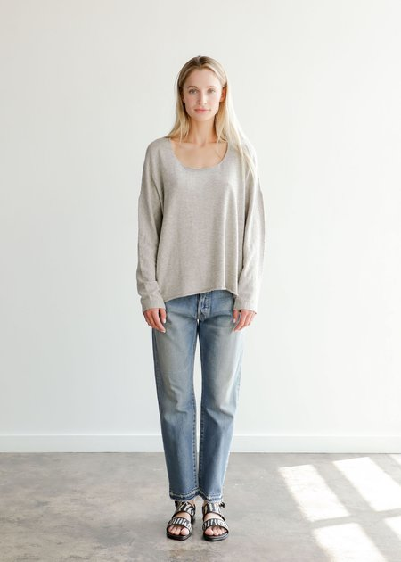 Lauren Manoogian Long Sleeve U Tee - Grey Melange