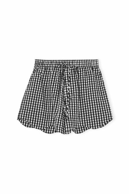 Ganni Seersucker Check Shorts - Black