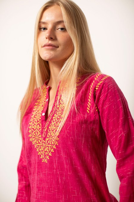 Vintage Embroidered Long Sleeve Top