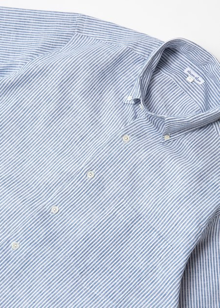 Steven Alan Short Sleeve Single Needle Shirt - Linen Micro Stripe