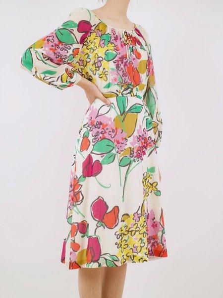 Vintage whimsical painted floral dress - multi