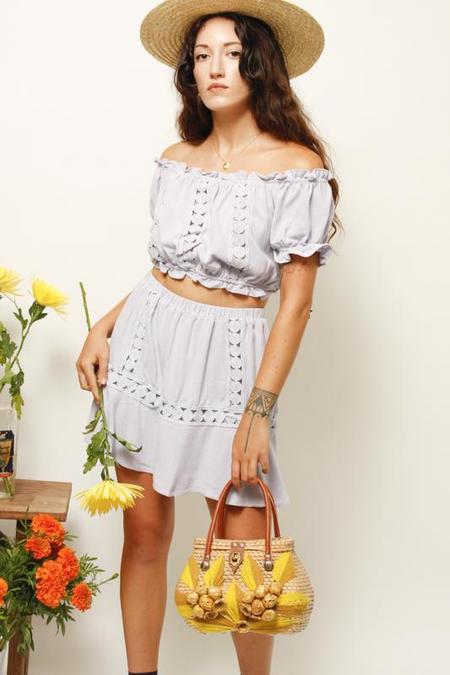 Endless Blu Cannes Linen Mini Skirt - Periwinkle
