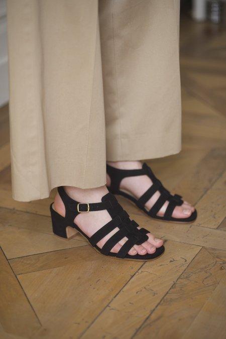 Anne Thomas Goudes Velours Sandals - Black