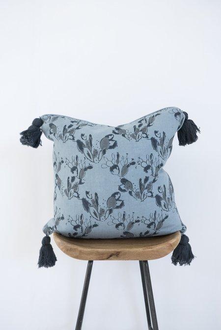 Karu prickly pear linen tassel cushion cover - blue