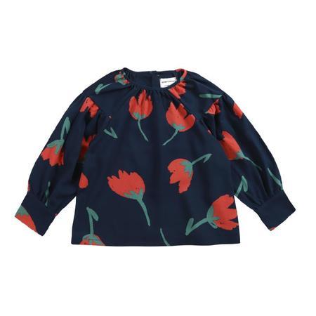 kids bobo choses big flowers woven blouse - black