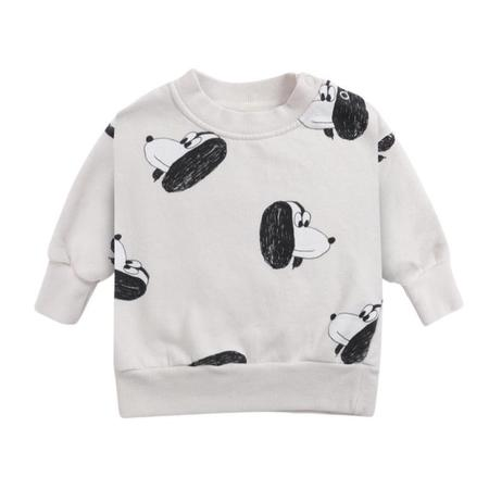 kids bobo choses doggie all over baby sweatshirt - light grey