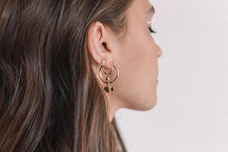 LAZULI Lightweight Ginkgo Leaf Removable Charm Hoop Earrings - Gold