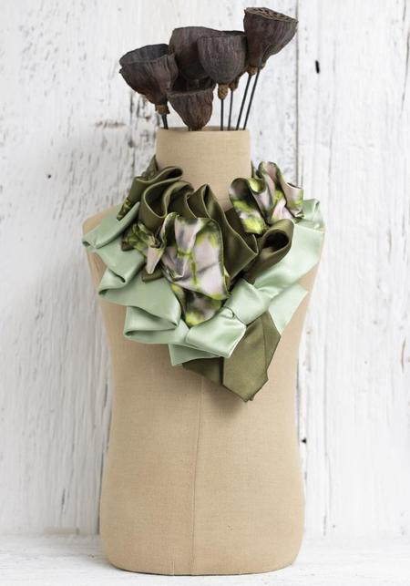 Lilian Asterfield Apple Pie Color Wash Silk Ascot necklace - green