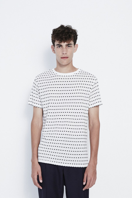 Soulland Fernell Jacquard T-Shirt in White/Black Dots