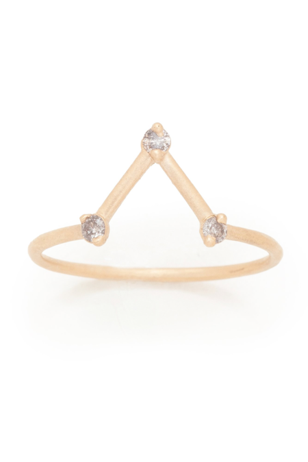 Valley Rose Cassiopeia Ring - Grey Diamonds