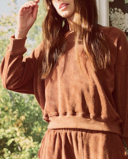 The Great. The Micro Terry Teammate Pullover - Rust