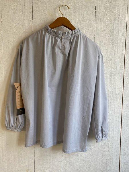 Conrado Umeda Ruffle Top - Grey/White Pinstripe