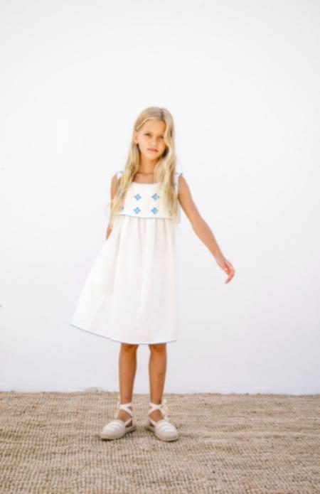 kids Liilu Folk Apron Dress - white