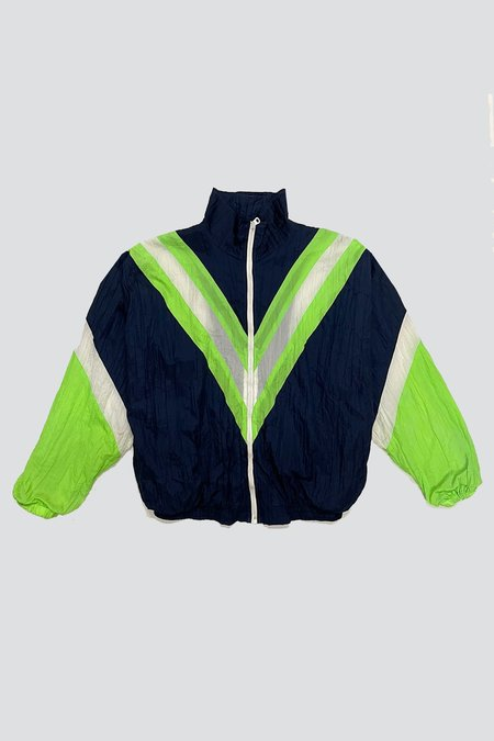 Vintage Nylon Navy/Neon Green Chevron Windbreaker