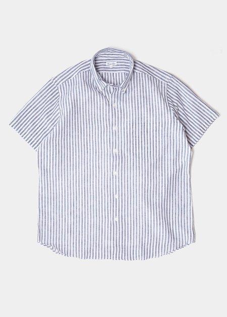 Steven Alan Short Sleeve Single Needle Shirt - Big Linen Stripe