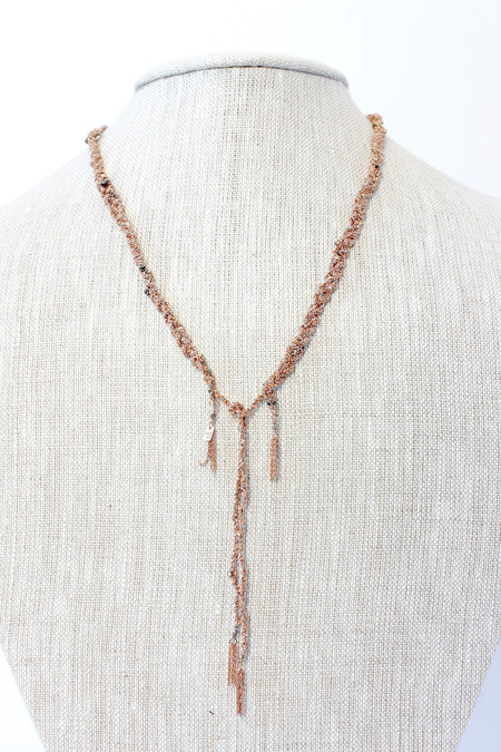 Marie Laure Chamorel Braided silk and chain necklace